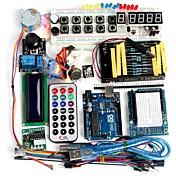 funduino高度なスターターキット液晶サーボモータドットマトリクスブレッドボードは、arduinoのための互換性の基本的な要素のパックを率い