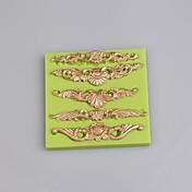 バロックの幾何学模様の形状シリコーンのフォンダンの型花の形のゴムのペーストのdiyの金型の色のランダム