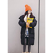 コート ロング パッド入り 女性,カジュアル/普段着 ソリッド コットン コットン-シンプル 長袖 ピンク / ブラック