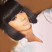 Mujer Pelo humano pelucas sin tapa Negro Medio Rizado Corte Bob Con flequillo Parte lateral