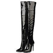Mujer-Tacón Stiletto-Botas a la Moda-Botas-Vestido / Fiesta y Noche-Cuero Patentado-Negro / Rojo