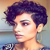 AISI HAIR Mujer Pelucas sintéticas Corto Ondulado Negro Parte lateral Corte Pixie Con flequillo Peluca natural Pelucas para Disfraz