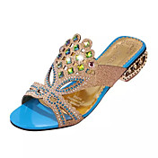 女性用 靴 PUレザー 夏 コンフォートシューズ サンダル チャンキーヒール クリスタルヒール ポインテッドトゥ クリスタル のために ドレスシューズ ブラック ダークブルー ブルー