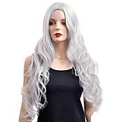 女性 人工毛ウィッグ キャップレス 非常に長いです ウェーブ シルバー コスプレ用ウィッグ コスチュームウィッグ