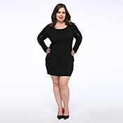 女性 シンプル カジュアル/普段着 / プラスサイズ 黒 ドレス,ソリッド ラウンドネック 膝上 長袖 ブラック コットン 秋 ミッドライズ マイクロエラスティック ミディアム
