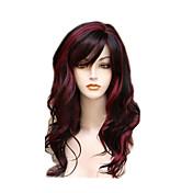 Mujer Pelucas sintéticas Largo Ondulado Rojo Pelo reflectante/balayage Parte lateral Con flequillo Peluca natural Pelucas para Disfraz