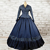 Victoriano Rococó Disfraz Mujer Una Sola Pieza Vestidos Accesorios Azul Piscina Cosecha Cosplay Algodón Manga Larga