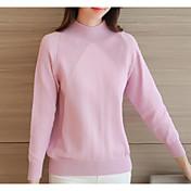 Mujer Regular Cardigan Casual/Diario Simple,Un Color Rosa Blanco Escote Redondo Manga Larga Acrílico Invierno Medio Microelástico