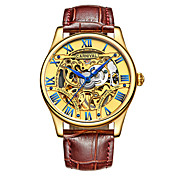 Carnival 男性 スケルトン腕時計 自動巻き 透かし加工 レザー バンド ビンテージ クール ブラウン