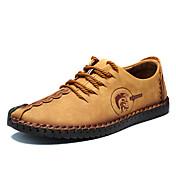Hombre Zapatos Cuero Verano Otoño Suelas con luz Zapatillas de deporte Paseo Para Casual Negro Amarillo Caqui