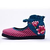 Mujer Zapatos Tela Primavera Verano Otoño Confort Botas de Moda Zapatos bordados Bailarinas Paseo Tacón Plano Dedo redondo Flor Cierre