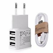 EUプラグ USプラグ 電話USB充電器 マルチポート 100 cm アウトレット USBポート×3 2.1A AC 100V-240V