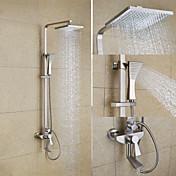 Arte Decorativa/Retro Sistema ducha Ducha lluvia Válvula Cerámica 3 Orificios Dos asas de tres agujeros Níquel Cepillado , Grifo de ducha