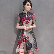 Mujer Línea A Vestido Noche Bonito,Floral Escote Chino Hasta la Rodilla Manga Corta Negro Rayón Otoño Tiro Medio Microelástico Medio
