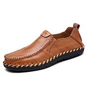 Hombre Zapatos Cuero Primavera Otoño Confort Zapatos de taco bajo y Slip-On Paseo Encaje Cosido Para Casual Negro Marrón Claro Borgoña