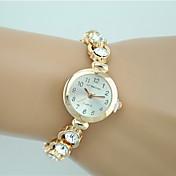 Dame Modeur Armbåndsur Quartz Rhinsten Imiteret Diamant Legering Bånd Charm Armbånd Afslappet Elegante Guld Guld