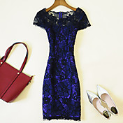 Mujer Corte Bodycon Vestido Casual/Diario / Tallas Grandes Simple,Un Color Escote Barco Sobre la rodilla Manga Corta Azul / Rojo / Beige