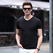 Hombre Simple Tallas Grandes Casual/Diario Playa Verano Camiseta,Escote en Pico Un Color Manga Corta Algodón LicraAzul Rojo Blanco Negro
