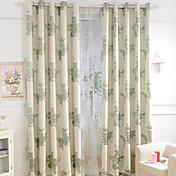 Corredizo Anillo Lazo de tela Doble plisado Solo plisado Dos Paneles Ventana Tratamiento Europeo , Jacquard Flor Dormitorio Mezcla de
