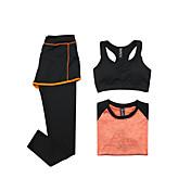 女性用 トラックスーツ 半袖 速乾性 高通気性 スポーツブラ Tシャツ パンツ トップス 洋服セット のために ヨガ エクササイズ&フィットネス ランニング モーダル ポリエステル スリム オレンジ グレー パープル フクシャ フルーツグリーン S M L XL