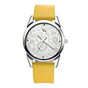V6 Mujer Reloj de Pulsera Resistente al Agua / / PU Banda Flor / Casual / Moda Negro / Marrón / Dos año / Mitsubishi LR626