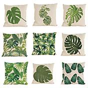 """conjunto de 9 almohadas tropicales caso de la hoja verde planta casa dormitorio cuadrado decorativo (18 """"* 18"""")"""