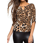 Mujer Chic de Calle Noche Festivos Camiseta Leopardo