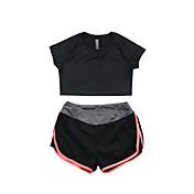女性用 タンニングTシャツ(ショーツ付き) 半袖 速乾性 高通気性 Tシャツ 洋服セット のために ヨガ エクササイズ&フィットネス ランニング モーダル ポリエステル スリム ブラック パープル フクシャ フルーツグリーン S M L XL