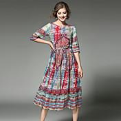 Mujer Fiesta Noche Festivos Vintage Sofisticado Chic de Calle Gasa Midi Vestido Retazos Escote Redondo