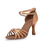 Mujer Latino Zapatillas de Baile Moderno Salsa Zapatos de Swing Satén Tacones Alto Entrenamiento Principiante Profesional Interior