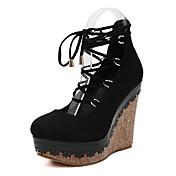 レディース 靴 フリース 春 クラブシューズ ヒール ウェッジヒール ラウンドトウ 編み上げ 用途 ドレスシューズ ブラック レッド