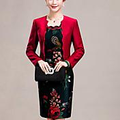 Mujer Corte Bodycon Vestido Noche Tallas Grandes Simple,Jacquard Escote Redondo Sobre la rodilla Manga Larga Rojo PoliésterPrimavera