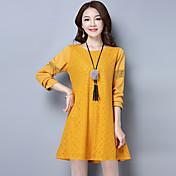 春に新しい大きいサイズの女性に署名' sの脂肪ミリメートルレースソリッドカラーのベースのスカート長袖のドレスの潮の200ポンド
