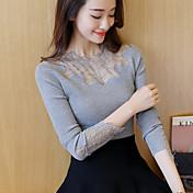 Mujer Regular Pullover Ropa Cotidiana Clásico,Color sólido Escote Redondo Manga Larga N/A Primavera Otoño Medio Elástico