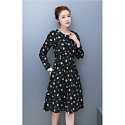 綿に署名2017年春の新モデル大きいサイズの女性' sの文学腰が薄い長袖のドレスと長いセクションでした