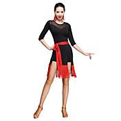 ラテンダンス ワンピース 女性用 訓練 プロミックス サッシュ/リボン 2個 3/4スリーブ ナチュラルウエスト ドレス ウエストベルト