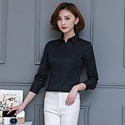 女性用 モダンスタイル シャツ シャツカラー 純色