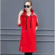 2016韓国人女性のプラス厚いビロードのステッチが薄いHitzの縞模様のフード付きドレスのスリットました