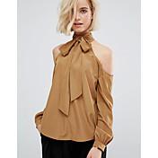 eBayのAliexpressの新しいファッションの女性' sのハイネックのレースのストラップレスソリッドカラーシャツのレジャー野生