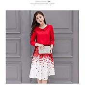 2017新しい赤い花びらのプリントシャツドレスツーピースのスカート