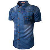 メンズ カジュアル/普段着 夏 シャツ,シンプル シャツカラー ソリッド ブルー コットン レーヨン 半袖 薄手