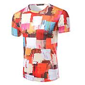 Kortærmet Rund hals Medium Herrer Hvid Trykt mønster Sommer Simpel Aktiv I-byen-tøj Formelle T-shirt,Bomuld