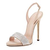Mujer Zapatos Vellón Purpurina Verano Gladiador Zapatos del club Sandalias Tacón Stiletto Puntera abierta Pedrería Hebilla Para Vestido