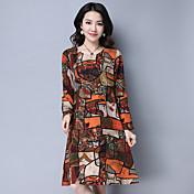 記号2017春新しい大きなサイズのプリント長袖のドレス