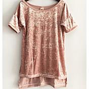 新しい金のベルベットのロングとショートスリーブTシャツ緩いスリットの前に2017ヨーロッパとアメリカの貿易のファッションのAliexpress