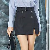 Mujer Clásico Media cintura Rígido Pantalones Pantalones,Color sólido N/A Primavera