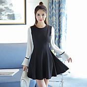 2017年春に新しい女性の小さな香りの風のトランペットの袖スリム長袖のドレス単語リトルブラックドレスの秋と冬
