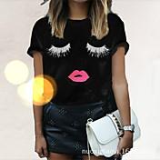 Mujer Estampado - Algodón Camiseta Un Color