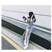 Mujer Línea A Vestido Fiesta Fiesta de Noche Fiesta de Cumpleaños Cita Sexy,Estampado Floral Cuello en V Midi Media Manga N/A VeranoTiro
