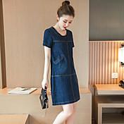 レディース ストリートファッション カジュアル/普段着 プラスサイズ シフト デニム ドレス,ソリッド ラウンドネック 半袖 夏 ミッドライズ